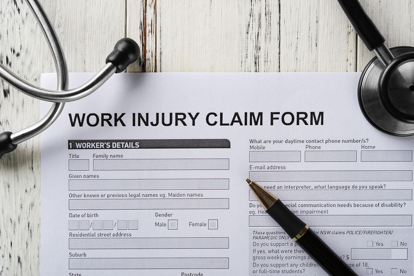 top view work injury claim form